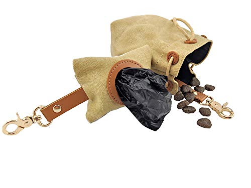 EC et Canvas Hundefutterbeutel + Kotbeutelspender Hundetraining Leckerli Futterbeutel Hund Kottüten Kotbeutel (Beige Sand)