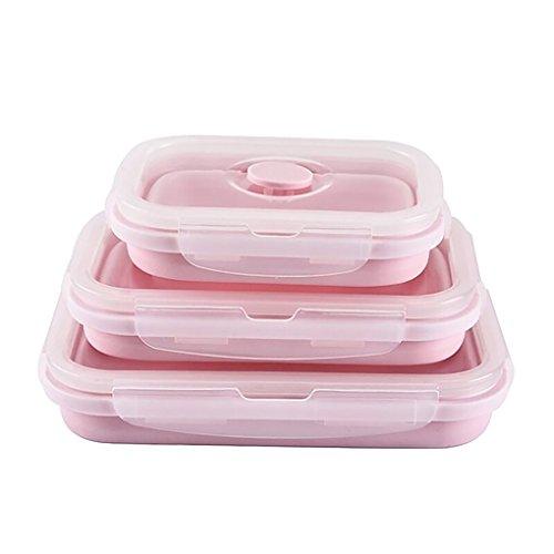 Guangcailun 3pcs portátil Plegable Almuerzo de Silicona Caja Plegable de Cocina de microondas doméstico de Picnic Caja de Almacenamiento de Alimentos de contenedores