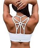 YIANNA Sujetador Deportivo Mujer Alto Impacto Relleno Sujetadores Deportivos Yoga Top Deporte Fitness sin Costuras Blanco, YA139 Size M