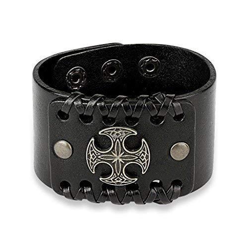 Coolbodyart Tapsi´s Biker Armband Leder Keltisches Kreuz Schwarz 240 x 46mm Verstellbar