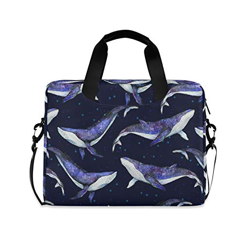 ALAZA Whale Sea Animal Print Galaxy Starry Laptop Case Bag Sleeve Portable Crossbody Messenger Briefcase w/Strap Handle, 13 14 15.6 inch