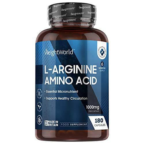 L-Arginina 1000mg 180 Cápsulas Vegano - 6 Meses de Suministro de Arginina Pura HCl, Suplemento Deportivo Micronutriente para el Deporte, Fitness y Entrenamiento, Suplemento alimenticio 100% Natural