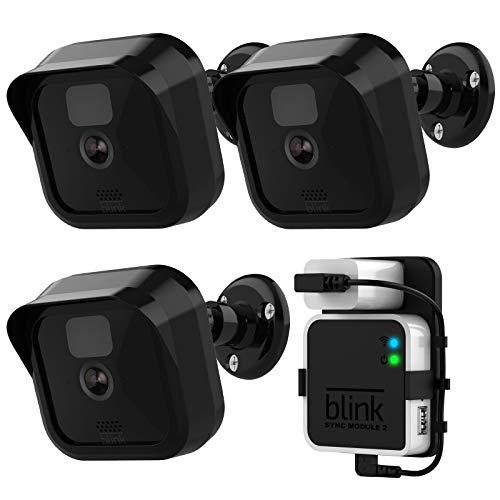 Blink Outdoor-Kamera-Wandhalterung, wetterfest, 360 Grad Vollschutz, verstellbar, für Innen- und Außenbereich, Schwarz 3 + 1
