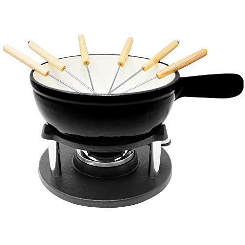 ToCis Big BBQ Gusseisen Fondue für Käsefondue und Schokofondue inklusive Brenner und Spieße (Schwarz/Weiß Emailliert)
