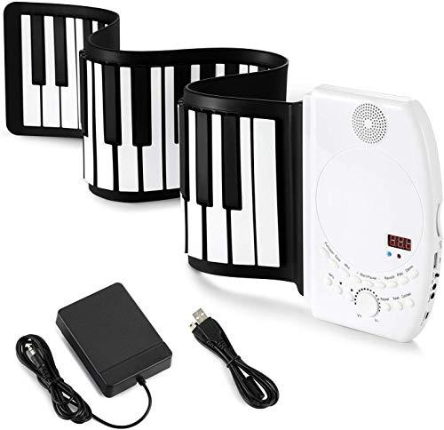 Donner Rollpiano 61 Tasten Roll Up Keyboard Klavier Faltbare Keyboard Handwalzen Klavier mit Sustain Pedal für Anfänger und Kinder