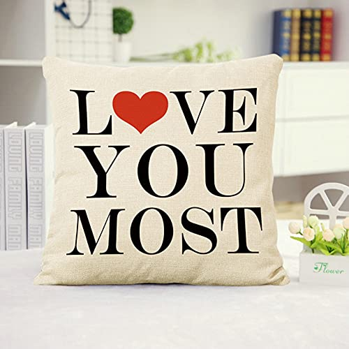 KnSam Throw Pillow Case with Zipper, Throw Pillow Case 50x50cm Love Letter Pillows Covers for Couches and Sofa Style 2
