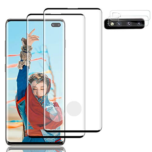 [2+2] Galaxy S10 Plus HD Tempered Glass Screen Protector and Lens Screen Protector,Support Fingerprint ID Sensitivity 3D Touch 9H Hardness Strong Self-Repair for Samsung Galaxy S10 Plus/S10+(6.4'')
