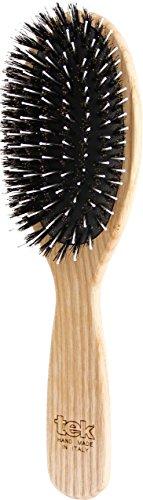 Tek Große ovale Haarbürste mit Wildschweinborsten und Nylon - Handgemacht in Italien