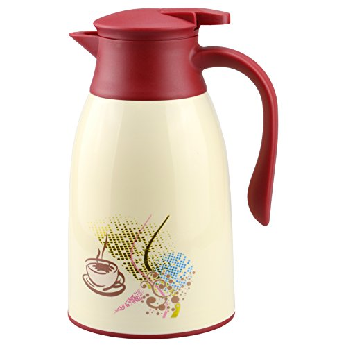 AceChef 45 Oz Glass Lined Thermal Carafe,Insulated Coffee Carafe,Coffee Thermos,Tea Pot with lid,Vacuum Insulated Thermal Coffee Carafe,1.3 Liter