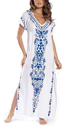 Orshoy Damen Baumwolle Kaftan Langes Kleid Maxi Strandkleid Blumenstickerei Sommer Strandkleid Bikini Coverups One Size Weiß