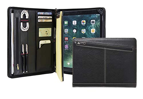 Genuine Leather Business Portfolio Professional Organizer Letter Size A4 Document Folder Notepad Padfolio Case for Men & Women, with Zipperd Closure, for iPad Pro 12.9 2017