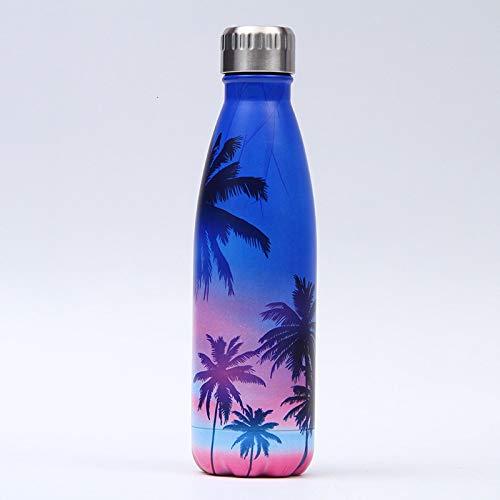 siqiwl Botella de agua aislada Botella de agua de acero inoxidable Botella de agua a prueba de fugas Gimnasio deporte bebida botella para agua fresca aislada taza taza 500 ml M