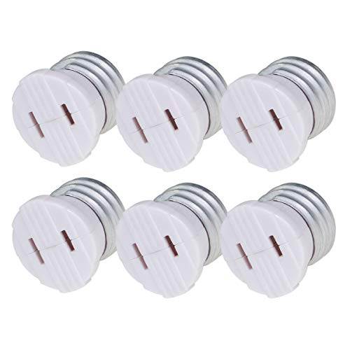 Comyan Bulb Light Plug Socket Adapter,Polarized Handy Outlet Splitter, E26 The US Standard Screw Light Holder, Two Holes, Easy-to-Install, 6 Pack, White