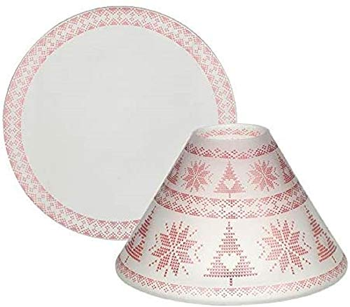 Yankee Candle Mountian Holiday Red Nordic Frosted - Ombrello grande + piatto, in vetro, multicolore, 15 cm