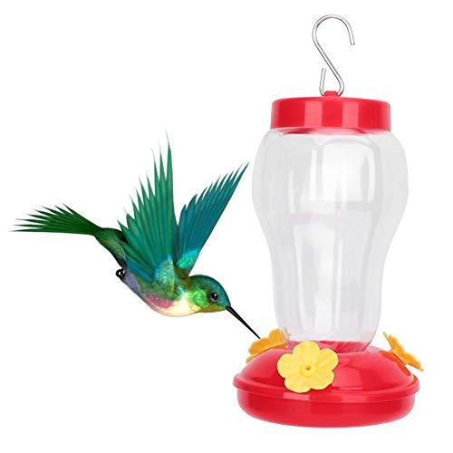 Pssopp Kolibri Zufuhr hängende Kolibri Tränke im Freienvogel Plastiktrinker Blumen Form Wilder Vogel Wasserspender(Rot)