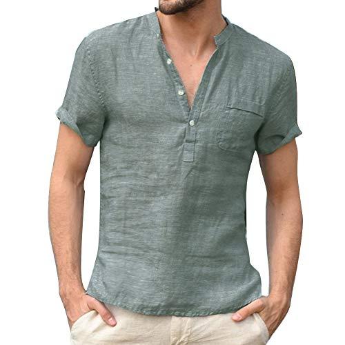 acelyn Chemise en lin pour homme Col grand-père Manches courtes Coton d'été décontracté Henley T-shirt ample S-XXL - Vert - X-Large