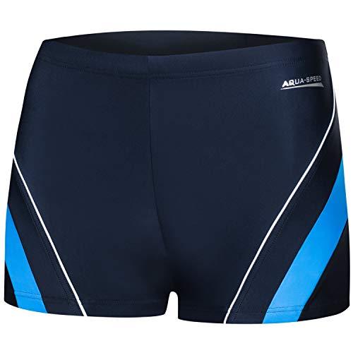 Aqua Speed Badehose kurz für Herren + gratis eBook | Kastenbadehose Männer | Moderne Schwimmhose | UV Badepants | Dennis, Gr. XL, 42 Navy Blue