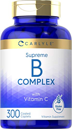 B Complex with Vitamin C   300 Caplets   Vegetarian Supplement, Non-GMO and Gluten Free   by Carlyle