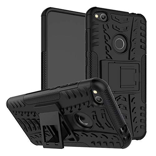 Jtailhne Compatible con Funda Huawei P8 Lite 2017, RíGida Tire Pattern Doble Capa HíBrida Armor Kickstand a Prueba De Choques Carcasa Negro & 2X Cristal Templados