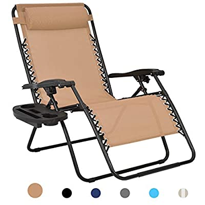 Patio Watcher Oversized Zero Gravity Chair Folding Recliner Chair with Cup Holder Accessory Tray and Removable Pillow for Outdoor Yard Porch Beige 1 Set
