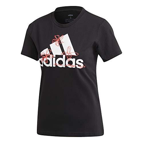 adidas Damen W FLORAL T Unterhemd, Schwarz, XL