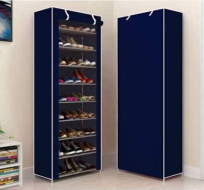 RAXON WORLD 9 Layer Multipurpose Collapsible Shoe Rack, Shoe Cabinet, Storage, Organiser, Non-Woven Fabric, Chappal Stand, Strong PVC Pipes, Waterproof, Dust - Resistance (Dark Blue)