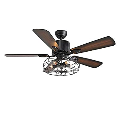 7PMBEANE Industrial Ceiling Fan with Light Vintage Cage Pendant Light with 5 Wooden Blades Remote Control for Dining Room 52 Inch
