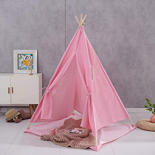 Bespivet Kids Teepee Play Tent Indian Children Wigwam Tipi Play House Fabric Canvas Portable Princess Girls Tent for Indoor and Outdoor in Pink
