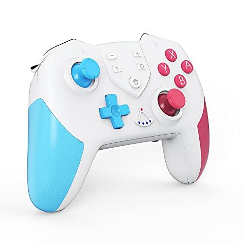 Switch コントローラー [2021最新] スイッチ コントローラー HD振動 NFC スリープ復帰 6軸ジャイロセンサー TURBO連射機能付き プロコン Bluetooth接続 任天堂 Nintendo switch スイッチの全てシステムに対応 PC対応 日本語取扱説明書(青&ピンク)