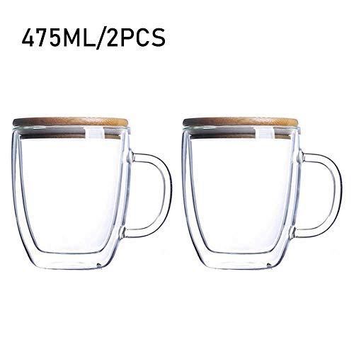 DreamyLife 475ml Doppelwandige Gläser - Latte Macchiato Cappuccino Gläser - Wassergläser Trinkgläser - Espressotassen mit Bambusdeckel und Henkel, 2-teilig