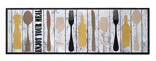 Küchenläufer / Küchenmatte / Dekoläufer für Küche und Bar / Teppich / Läüfer / Läufer / waschbare Küchenläufer / Küchendeko Modell ,,COOK & WASH Enjou your Meal - Holzoptik - Besteck - Weinglas - Weinflasche - grau
