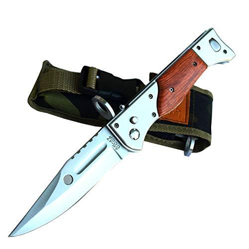 CCCP AK 47 Russia USSR Faltbar Messer Jagdmesser Gürtelmesser Griff aus Holz und Mettal, Gesamtlänge 27cm. Camping