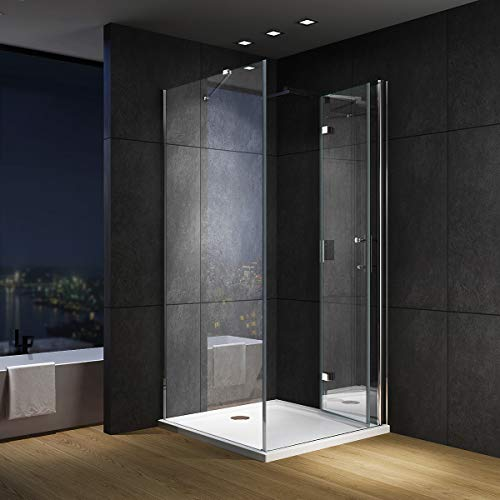 IMPTS Duschkabine 80 x 70 cm Eckeinstieg falttür Duschtür 180º faltbar Klappbar 6mm NANO Glas Duschwand Duschabtrennung 195cm Höhe,OHNE Duschwanne