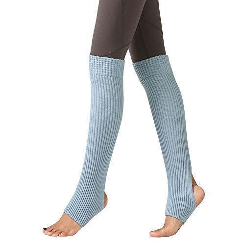 ODJOY-FAN 1 Paar Frau Schenkel Gestrickt Bein Wärmer Yoga Socken Stiefel Abdeckung Leggings Slouch Stiefel Socken Warm Damen Halterlose Strümpfe 55cm(Blau,1 Paar)