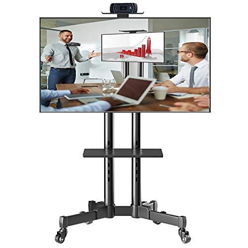 Soporte TV Trole Soporte Universal Giratorio para TV con Ruedas, Se Adapta a Televisores con Pantallas LCD LED de 32/42/43/50/55/65/70 Pulgadas, Carro para TV Móvil con Piso de Altura Ajustable, Negro