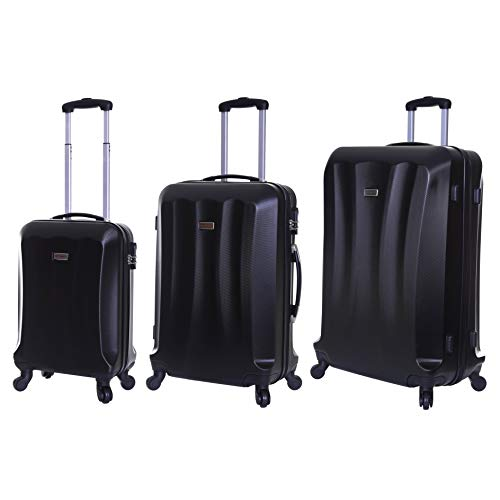 Slimbridge Luggage Set of 3 Hard ABS Shell Suitcases Large Medium and Carry On 4 Wheels Number Lock, Lydd Rich Black