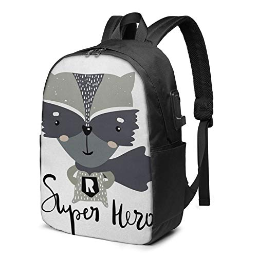 Laptop Backpack with USB Port Raccoon Super Hero Costume, Business Travel Bag, College School Computer Rucksack Bag for Men Women 17 Inch Laptop Notebook
