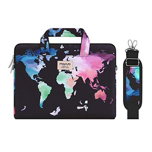 MOSISO Laptop Shoulder Bag Compatible with 13-13.3 inch MacBook Pro, MacBook Air, Notebook Computer, World Map Carrying Briefcase Sleeve with Trolley Belt