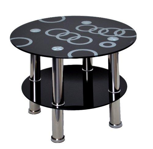 Glastisch rund Beistelltisch Ecktisch Couchtisch Schwarz mit Edelstahl und 8 mm ESG Sicherheitsglas