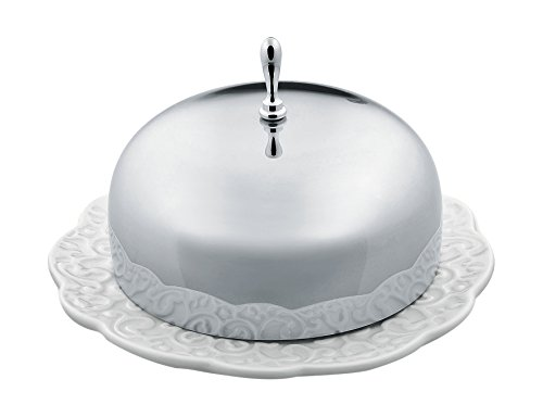 """Alessi""""Dressed"""" Butter Dish in Porcelain With Lid in 18/10 Stainless Steel Mirror Polished, White"""