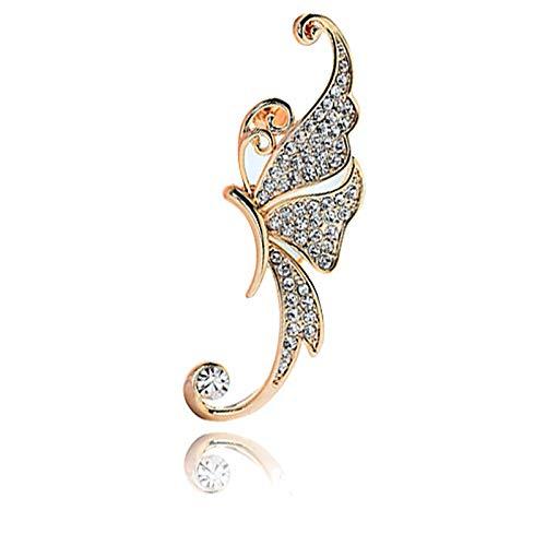 YZYZ Pendientes de mariposa, pendientes de clip unilateral con flores sin agujero para la oreja, clip de hueso, colgante para mujer