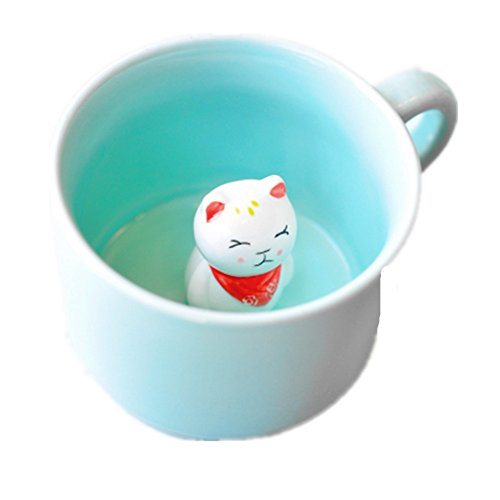 ZaH 3D Coffee Mug Cute Animal Inside Cup Cartoon Ceramics Figurine Teacup Christmas Birthday Gift for Boys Girls Kids - Party Office Morning Mugs for Tea Juice Milk Chocolate Cappuccino (8 oz Cat)