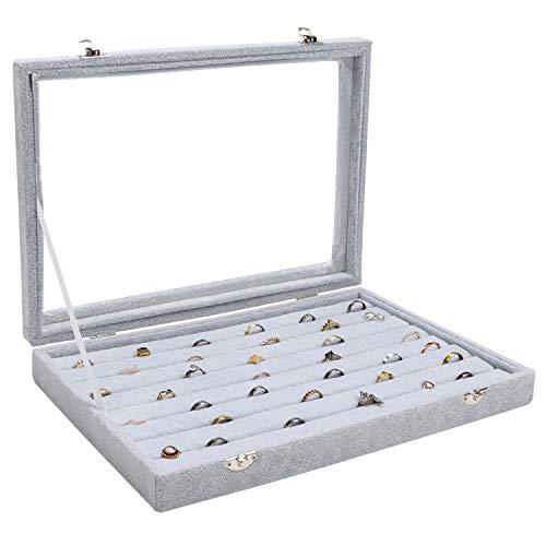 Belle Vous Graue Ring Box Aufbewahrungsbox für Schmuck Samt Display Schmucklade mit 7 Fächern und Deckel - Vitrine Organizer mit transparentem Glasdeckel für Ringe, Ohrringe und Manschettenknöpfe