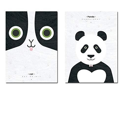 LLXHG Scandinavonden en prints Kawaii Cartoon Panda dieren Hd muurkunst canvas doek voor baby kinderkamer decor-40X60Cmx2Pcs niet-ingelijst