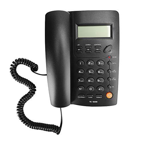 Limouyin Teléfono Fijo, TC-9200 ABS Negro Identificación de Llamadas Manos Libres Oficina de Negocios Familiares Hotel Teléfono Fijo Fijo, Teléfono Comercial ergonómico con Sonido HD