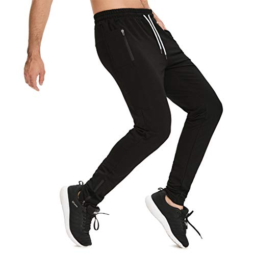 Yageshark Herren Jogginghose Sporthose Baumwolle Fitness Slim Fit Hose Trainingshose Freizeithose Joggers Streetwear (Schwarz, Medium)