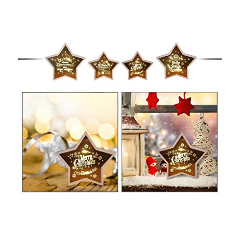 TIANXIN Christmas Star Shape Modeling Lights Christmas Decoration, Not Dazzling Easy to Install for Christmas, Halloween, Home Decoration Pendant Crafts, New Year and Other Festival (Warm Light) (D)