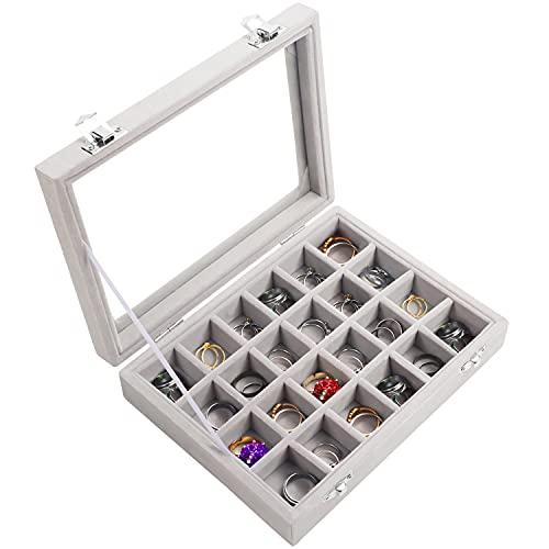Kurtzy Jewelry Organizer Ring Aufbewahrung Schmuckkasten Grau (24 Fächer) Samt Box mit Glas Deckel 20,2 x 15,1 x 4,6cm - Schmuck Aufbewahrung Schmuckschatulle für Ringe, Ohrringe, Armband Aufbewahrung