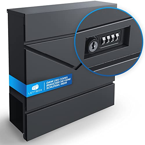 Lettbox Briefkasten anthrazit | Postkasten mit Zeitungsfach | Zahlenschloss | Witterungsbeständig | Schloss mit Schlüssel | 37x37x10,5 cm | Design Briefkasten mit Zahlencode