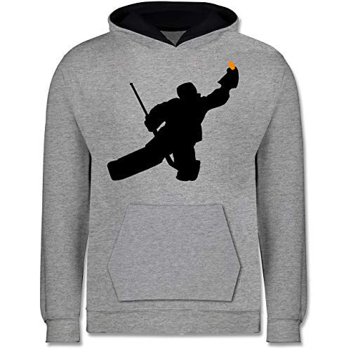 Sport Kind - Towart Eishockey Eishockeytorwart - 140 (9/11 Jahre) - Grau meliert/Navy Blau - Statement - JH003K - Kinder Kontrast Hoodie